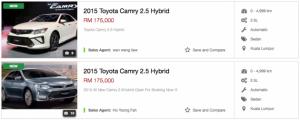 2015 Тойота Камри гибрид - объявления список RM175k цена