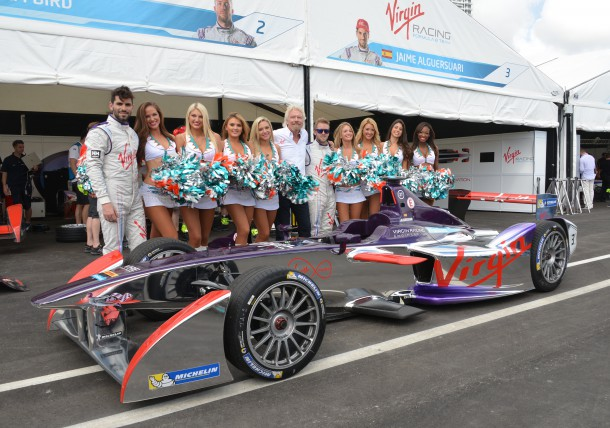 Richard Branson, his Virgin Racing Formula E team, and the Miami Dolphin Cheerleaders