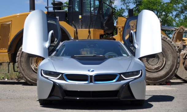 2015 BMW i8 front doors open lead