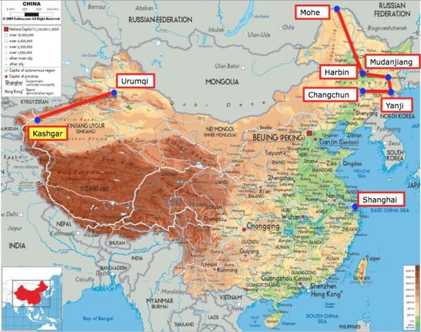 China map with Kashgar