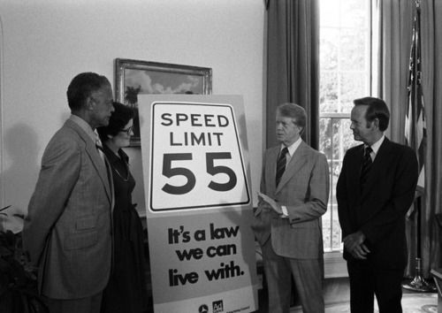 President Richard Nixon signed the 55 MPH Speed Limit into law, but unfortunately my search fu has failed me and I cannot find an appropriate photo. Pres. Jimmy Carter was an enthusiastic supporter.